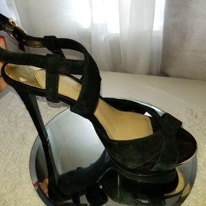 BOGO Black suede gold accent strappy heels